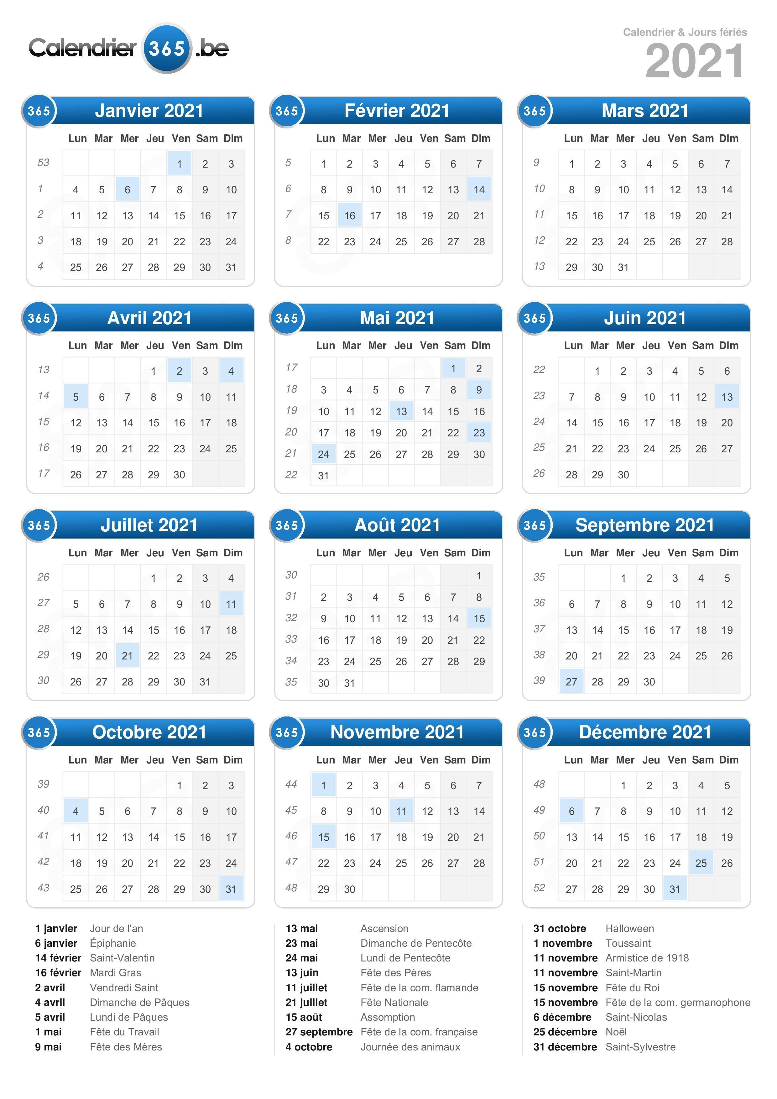 Calendrier 2021 365 Calendrier 2021